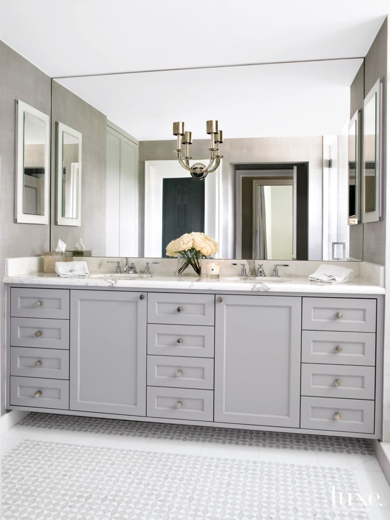 Modern Gray Bathroom with Gray Cabinets - Luxe Interiors + Design