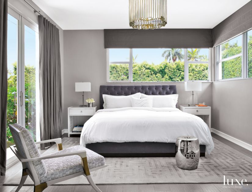 Modern Gray Bedroom With Textured Side Chair Luxe Interiors Design