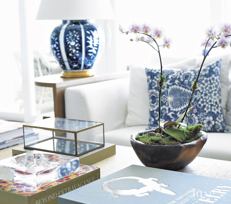Modern White Living Room Vignette with Blue Lamp