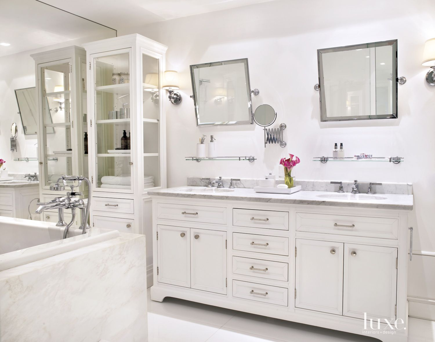Modern White Bathroom with Tall White Cabinets