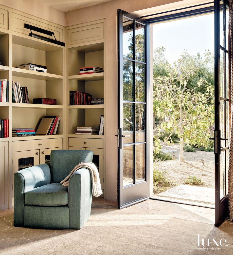 Contemporary Neutral Library with French Doors