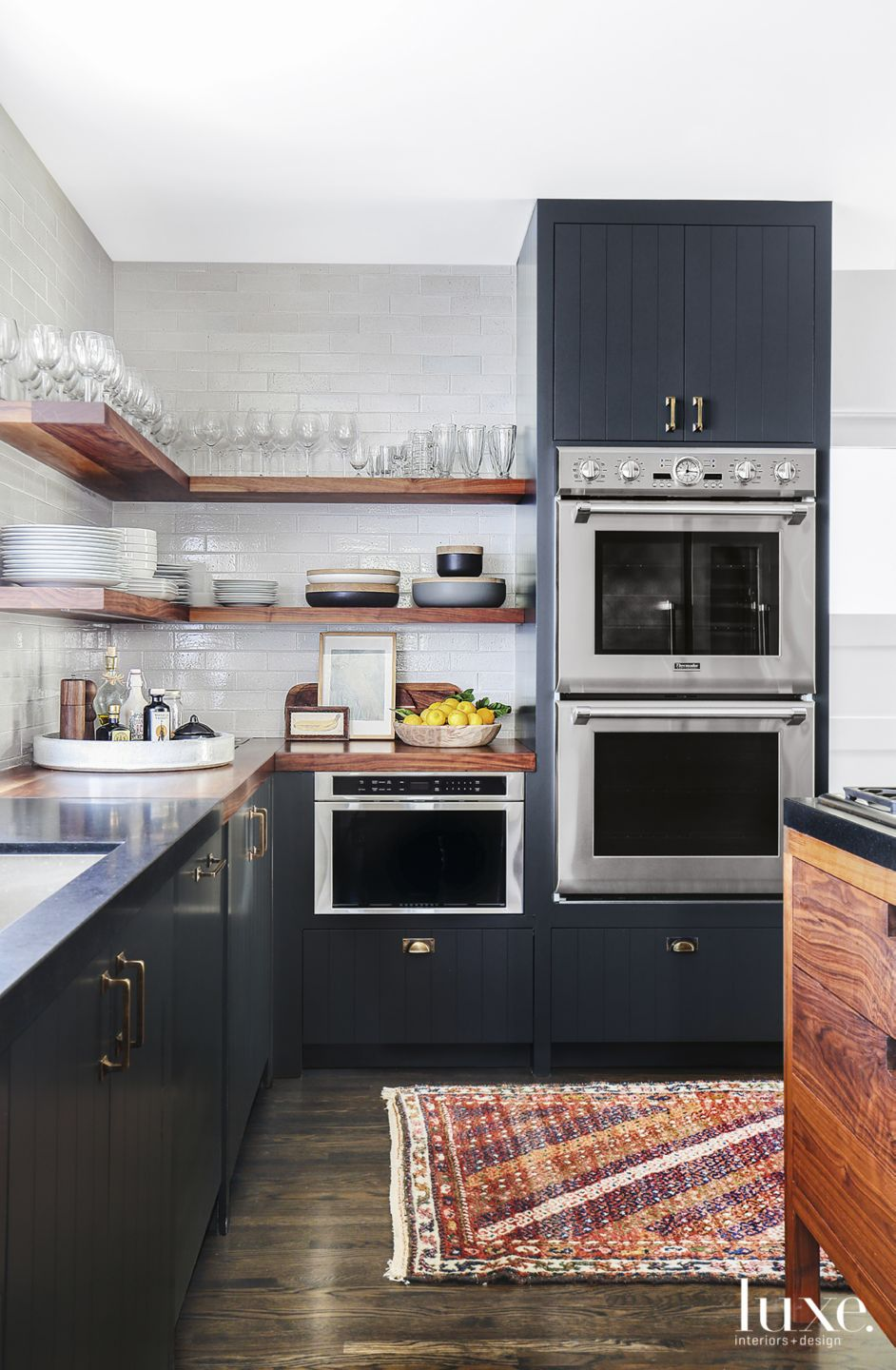 Eclectic Neutral Kitchen with Open Wood Shelving